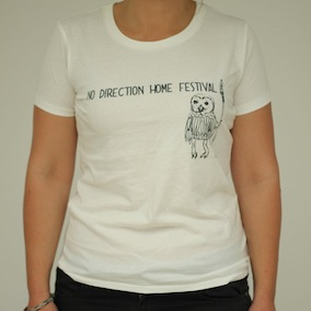 No Direction Home. Owl Ladies T-Shirt - Faded White