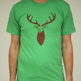 Stag Mens T-Shirt - Grass Green