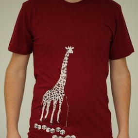 Giraffe Mens T-Shirt - Cranberry