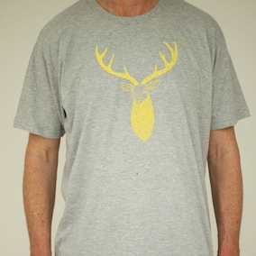Stag Mens T-Shirt - Heather Grey