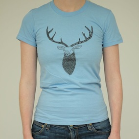 Stag Ladies T-Shirt - Baby Blue