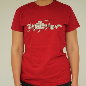 Squirrel Band Ladies T-Shirt - Dark Red