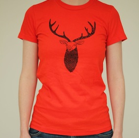 Stag Ladies T-Shirt - Poppy Red
