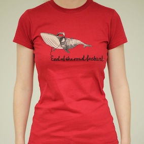 Whale Ladies T-Shirt - Dark Red